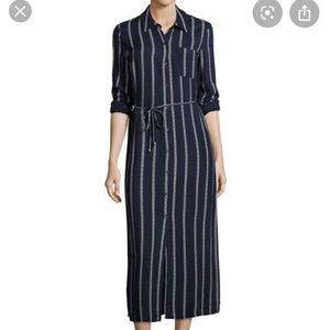 Splendid Navy & White Rope Print Maxi Shirt Dress